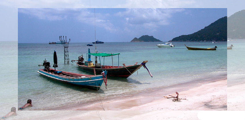 Longtail boats at Sairee Beach, Koh Tao